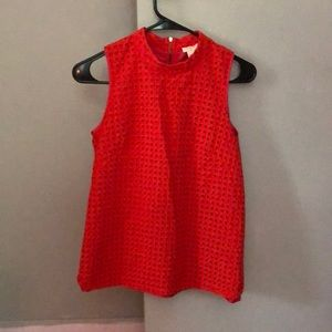 Sleeveless orange eyelet top